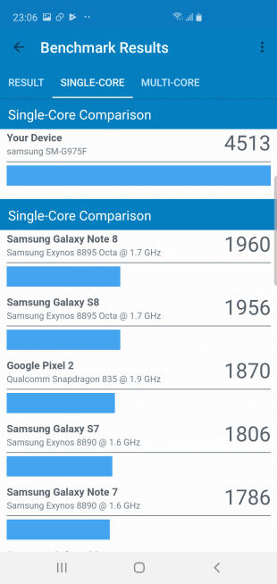 Samsung Galaxy S10+: Geekbench